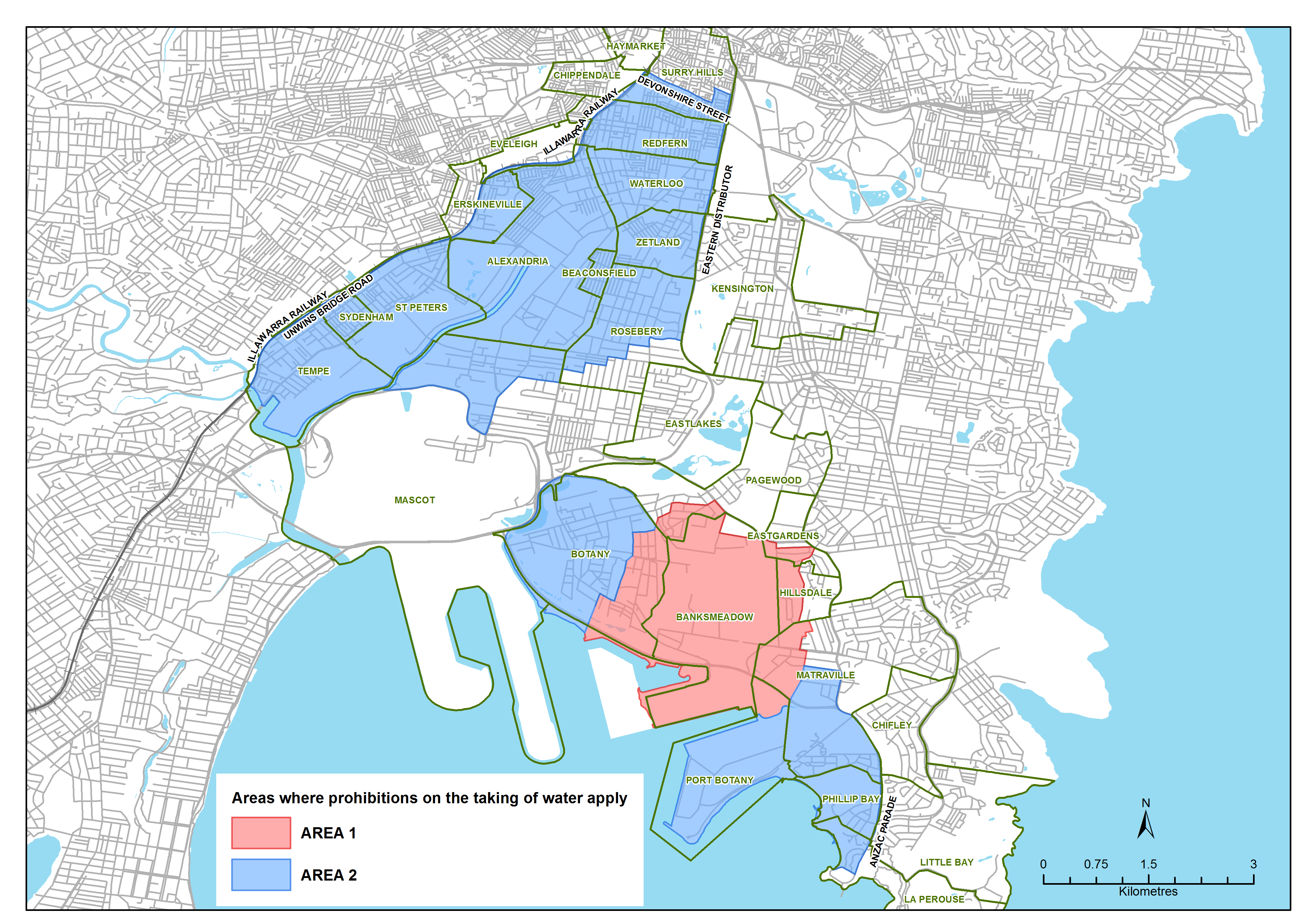 Map of Sydney with restricted water areas