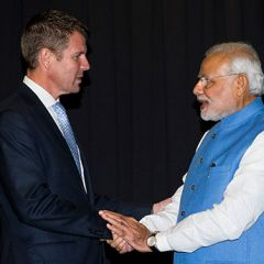 NSW Premier Mike Baird with Indian Prime Minister Narendra Modi. Photo: Brendan Read